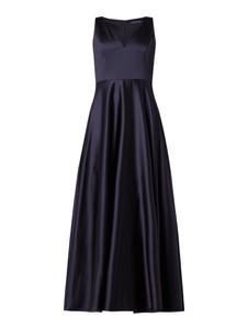 Granatowa sukienka Marie Blanc bez rękawów maxi rozkloszowana