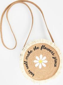 Reserved - Pleciona torebka z haftem - Beżowy