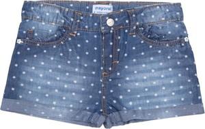 Niebieskie spodenki dziecięce Mayoral z jeansu w groszki