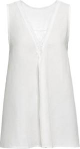 Bluzka bonprix BODYFLIRT z lnu z dekoltem w kształcie litery v
