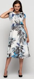 Sukienka Lavard z szyfonu midi z krótkim rękawem