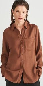 Brązowa koszula Reserved w stylu casual z kołnierzykiem z żakardu
