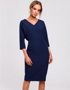 Niebieska sukienka MOE ołówkowa midi z dekoltem w kształcie litery v