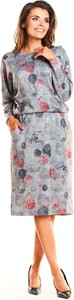 Sukienka Awama z dzianiny z długim rękawem w stylu casual