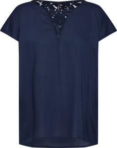 Granatowa bluzka Vero Moda z krótkim rękawem z okrągłym dekoltem