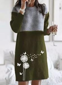 Zielona sukienka Cikelly w stylu casual z długim rękawem mini