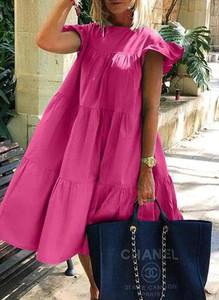 Sukienka Sandbella z okrągłym dekoltem z krótkim rękawem z bawełny