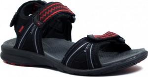 Czarne sandały TESTUDO w sportowym stylu na rzepy