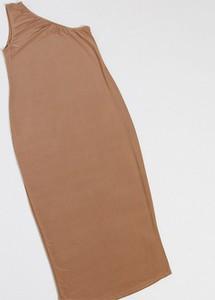 Fashionkilla Maternity — Kamiennoszara sukienka midi na jedno ramię-Beżowy