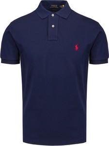 Granatowa koszulka polo POLO RALPH LAUREN z tkaniny w stylu casual
