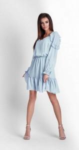 Niebieska sukienka Ivon z szyfonu mini