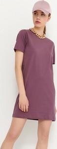 Fioletowa sukienka House w stylu casual z krótkim rękawem mini