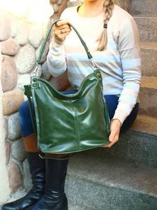 Zielona torebka TrendyTorebki matowa duża na ramię