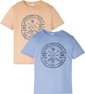 Niebieski t-shirt bonprix w młodzieżowym stylu