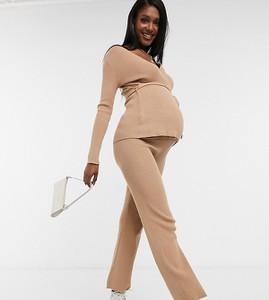New Look Maternity – Dzianinowe, camelowe spodnie z szerokimi nogawkami – część zestawu-Jasnobrązowy