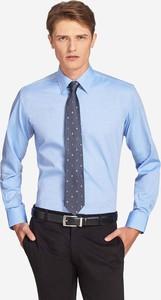 Niebieska koszula Wólczanka z bawełny z długim rękawem
