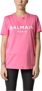Różowy t-shirt Balmain z okrągłym dekoltem z krótkim rękawem