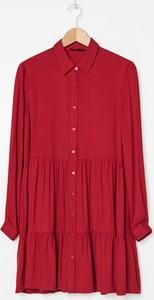 Czerwona sukienka House szmizjerka mini z długim rękawem