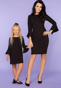 Czarna sukienka sukienki.pl midi z okrągłym dekoltem z bawełny
