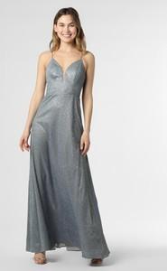 Niebieska sukienka Luxuar Fashion maxi na ramiączkach z dekoltem w kształcie litery v