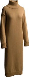Brązowa sukienka RISK made in warsaw z długim rękawem z kaszmiru