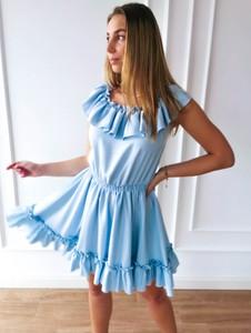 Niebieska sukienka Perfe.pl z bawełny hiszpanka