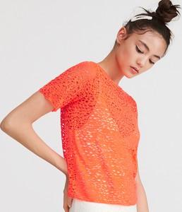 Pomarańczowa bluzka Reserved z krótkim rękawem