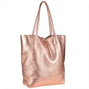 Różowa torebka Borse in Pelle w wakacyjnym stylu duża ze skóry
