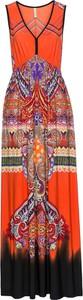 Sukienka bonprix BODYFLIRT boutique maxi w kształcie litery v