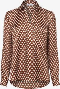 Brązowa bluzka Louis & Mia z jedwabiu z kołnierzykiem z długim rękawem