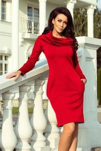 Czerwona sukienka NUMOCO z długim rękawem dopasowana mini
