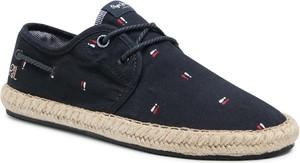 Czarne buty letnie męskie Pepe Jeans sznurowane z tkaniny