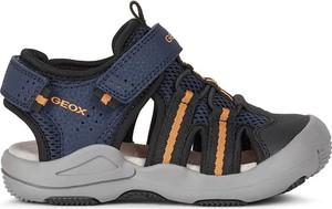 Granatowe buty dziecięce letnie Geox ze skóry dla chłopców