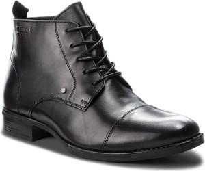 Czarne buty zimowe Lasocki For Men sznurowane ze skóry