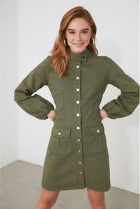 Zielona sukienka Trendyol w stylu casual koszulowa z kołnierzykiem