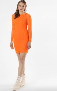 Pomarańczowa sukienka Calvin Klein z długim rękawem w stylu casual z golfem