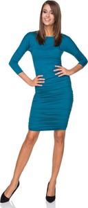 Turkusowa sukienka sukienki.pl z długim rękawem dopasowana mini