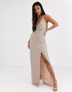 Srebrna sukienka Missguided maxi na ramiączkach