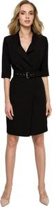 Czarna sukienka Style koszulowa z dekoltem w kształcie litery v z tkaniny
