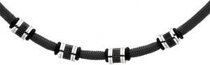 Silverado Czarny naszyjnik męski z bawełnianego sznurka i stalowych ozdób w stylu minimalistycznym 77-WA403B