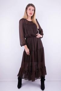 Brązowa sukienka WIBS z tkaniny