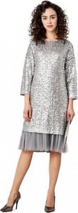 Sukienka POTIS & VERSO z okrągłym dekoltem prosta z długim rękawem