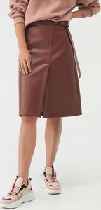 Brązowa spódnica Sinsay ze skóry ekologicznej