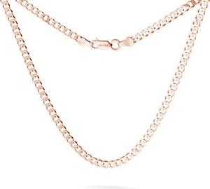 GIORRE MĘSKI ŁAŃCUSZEK PANCERKA CHOKER SREBRO 925 : Długość (cm) - 45, Kolor pokrycia srebra - Pokrycie Różowym 18K Złotem