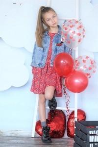 Kurtka dziecięca Qba Kids w kwiatki z jeansu