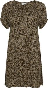 Brązowa bluzka Kaffe z krótkim rękawem z okrągłym dekoltem w stylu casual