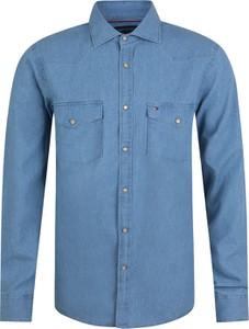 Niebieska koszula Tommy Hilfiger z długim rękawem z bawełny
