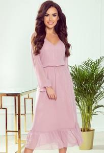 Różowa sukienka NUMOCO z szyfonu