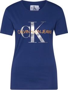 Niebieska bluzka Calvin Klein z okrągłym dekoltem z tkaniny w młodzieżowym stylu