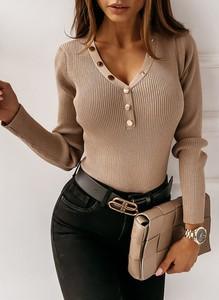 Brązowa bluzka Sandbella z długim rękawem z dresówki